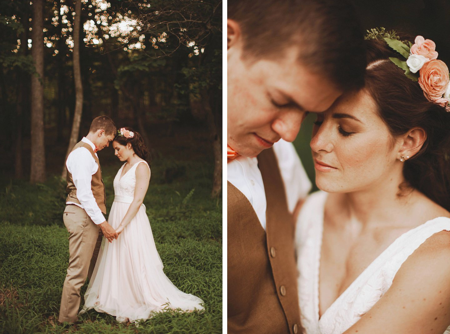 beautiful bride and groom in forest Cacapon Resort State Park