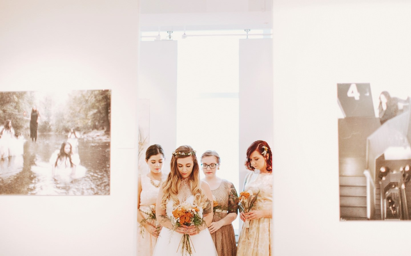 really cool art gallery wedding portraits