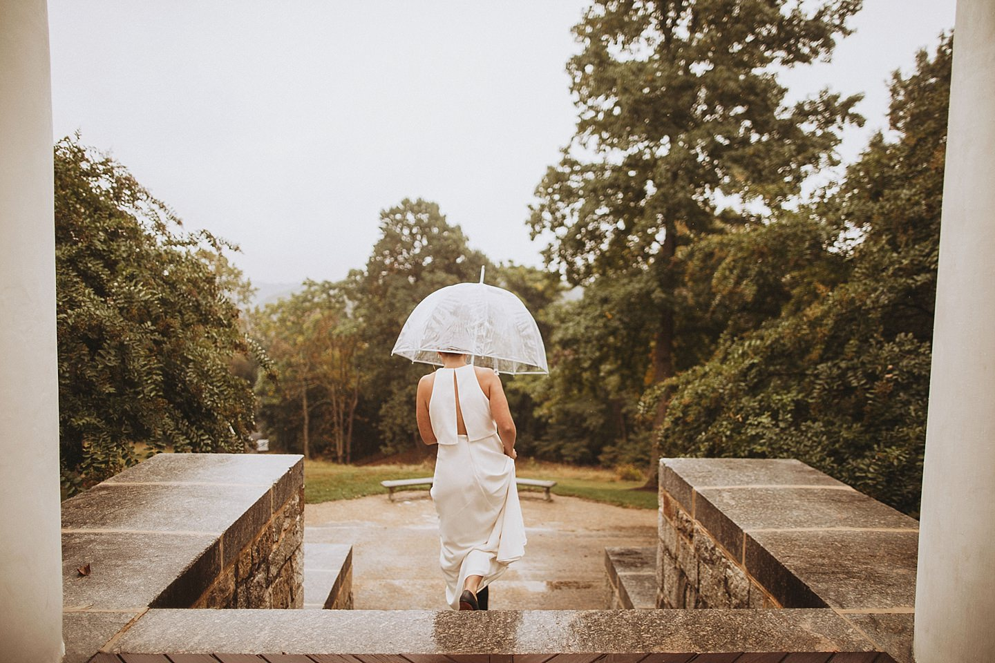 rainy wedding at Patapsco Female Institute